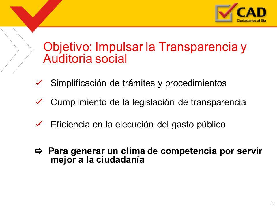 5 Objetivo: Impulsar la Transparencia y Auditoria social Simplificación de trámites y procedimientos Cumplimiento de la legislación de transparencia E