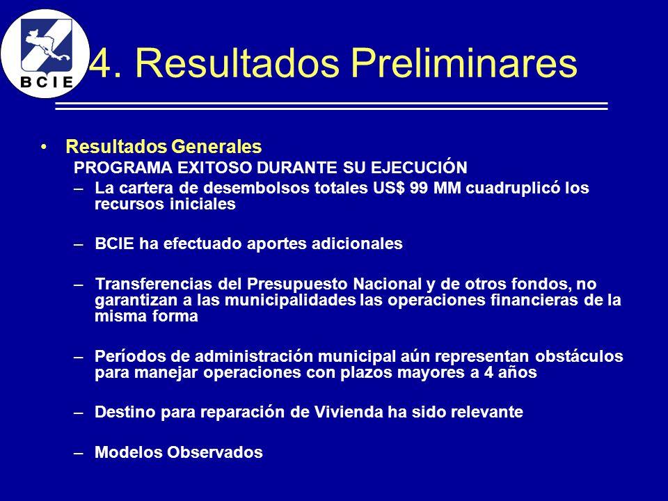 4. Resultados Preliminares Resultados Generales PROGRAMA EXITOSO DURANTE SU EJECUCIÓN –La cartera de desembolsos totales US$ 99 MM cuadruplicó los rec