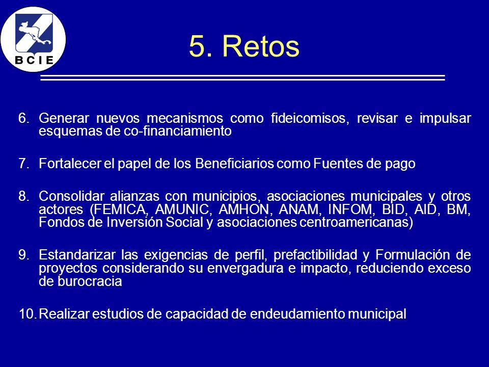 5. Retos 6.Generar nuevos mecanismos como fideicomisos, revisar e impulsar esquemas de co-financiamiento 7.Fortalecer el papel de los Beneficiarios co