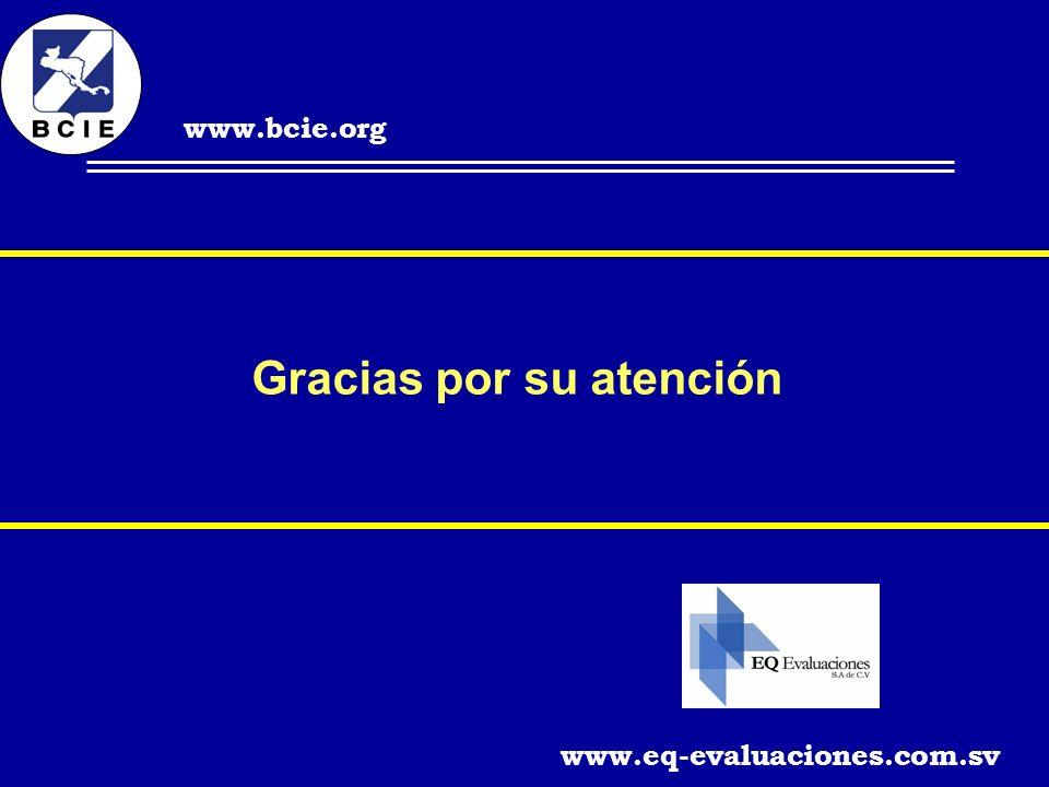 Gracias por su atención www.eq-evaluaciones.com.sv www.bcie.org