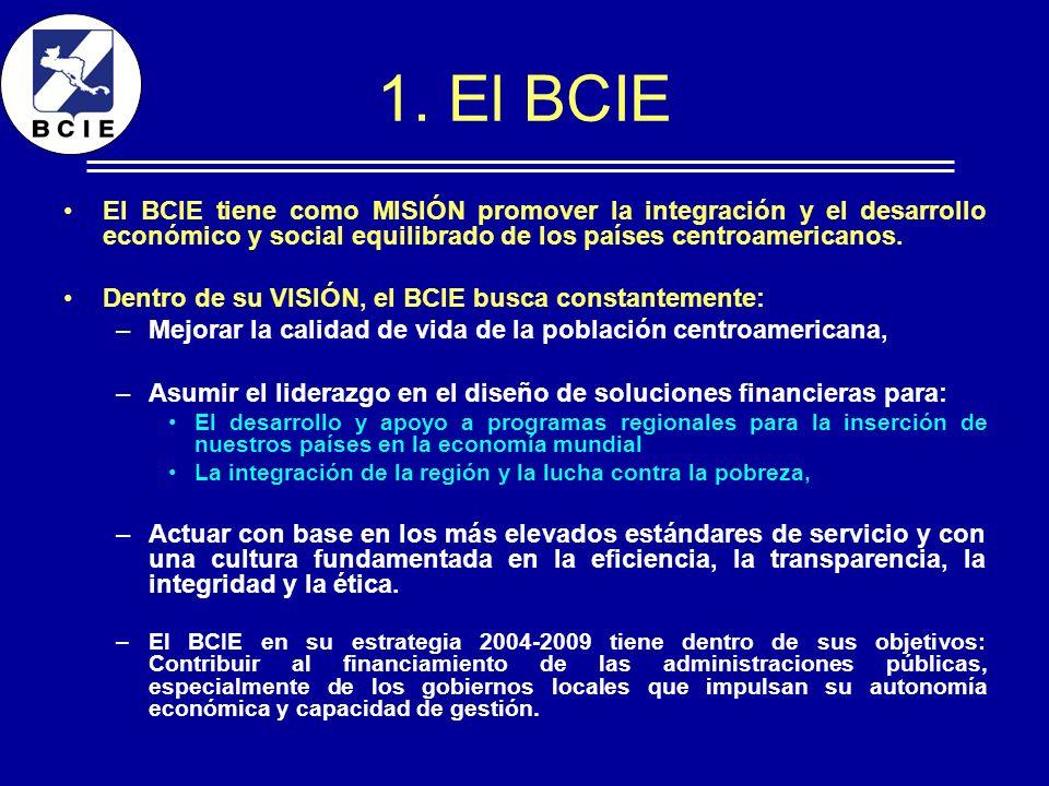 1. El BCIE El BCIE tiene como MISIÓN promover la integración y el desarrollo económico y social equilibrado de los países centroamericanos. Dentro de