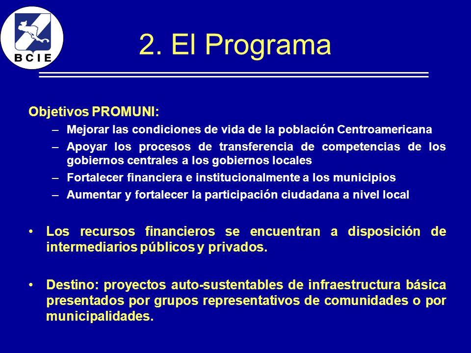 2. El Programa Objetivos PROMUNI: –Mejorar las condiciones de vida de la población Centroamericana –Apoyar los procesos de transferencia de competenci