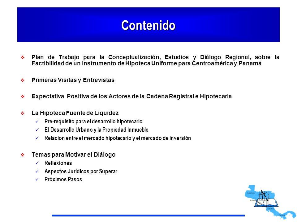 Primeras Visitas y Entrevistas Visitas Honduras Panamá Costa Rica Nicaragua El Salvador Entrevistas : Supervisores Registradores, Banqueros, Empresarios, Notarios, Jueces Total 45 funcionarios y ejecutivos Se entrevistó a un grupo representativo de los actores de la cultura registral