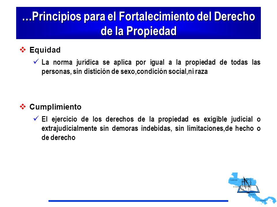 …Principios para el Fortalecimiento del Derecho de la Propiedad Equidad La norma jurídica se aplica por igual a la propiedad de todas las personas, si