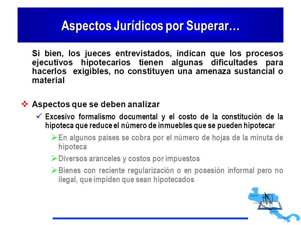 Aspectos Jurídicos por Superar… Si bien, los jueces entrevistados, indican que los procesos ejecutivos hipotecarios tienen algunas dificultades para h