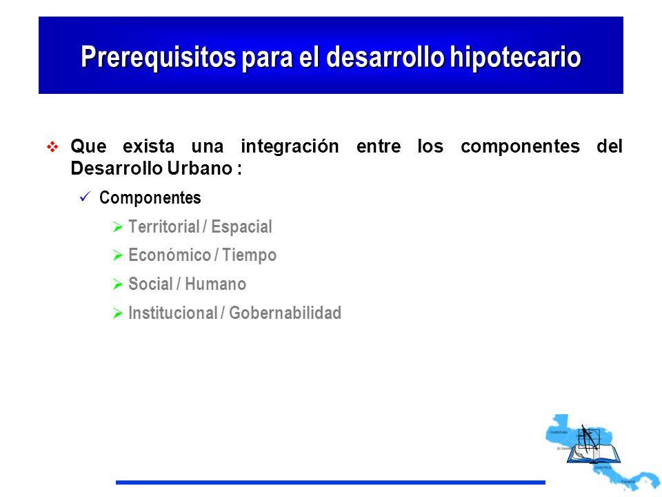 Prerequisitos para el desarrollo hipotecario Que exista una integración entre los componentes del Desarrollo Urbano : Componentes Territorial / Espaci