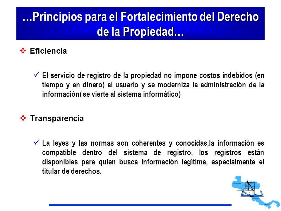 …Principios para el Fortalecimiento del Derecho de la Propiedad… Eficiencia El servicio de registro de la propiedad no impone costos indebidos (en tie