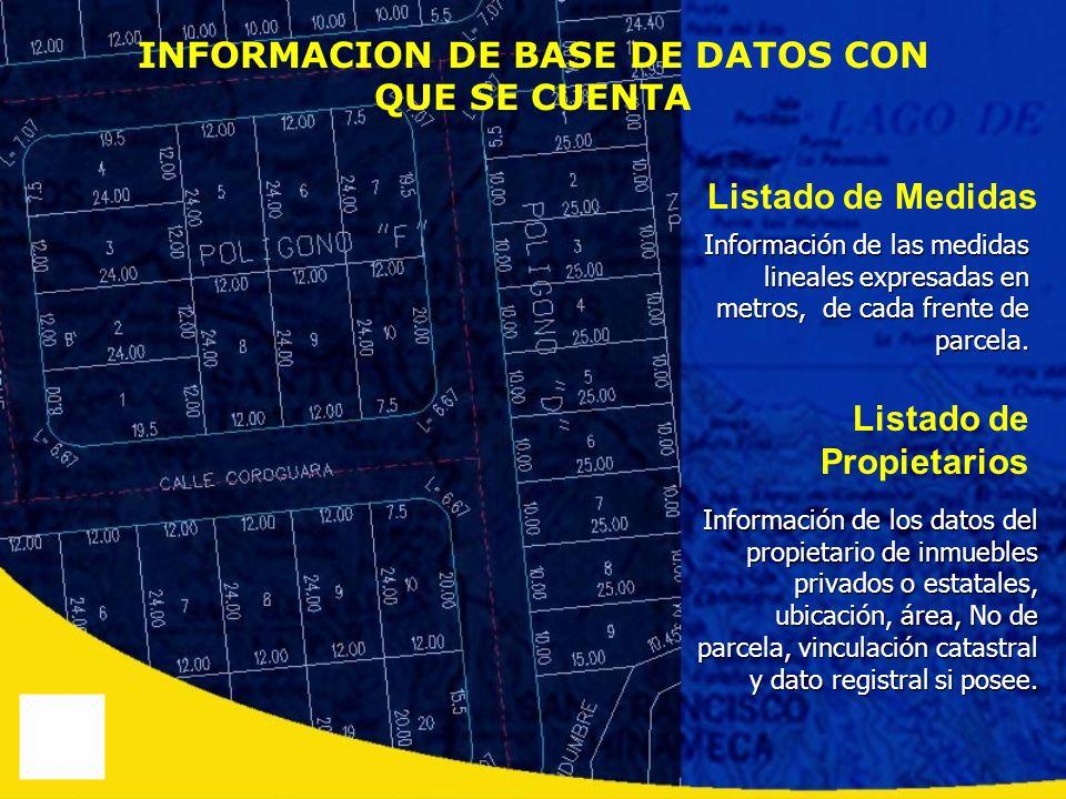 Información de las medidas lineales expresadas en metros, de cada frente de parcela. Información de los datos del propietario de inmuebles privados o