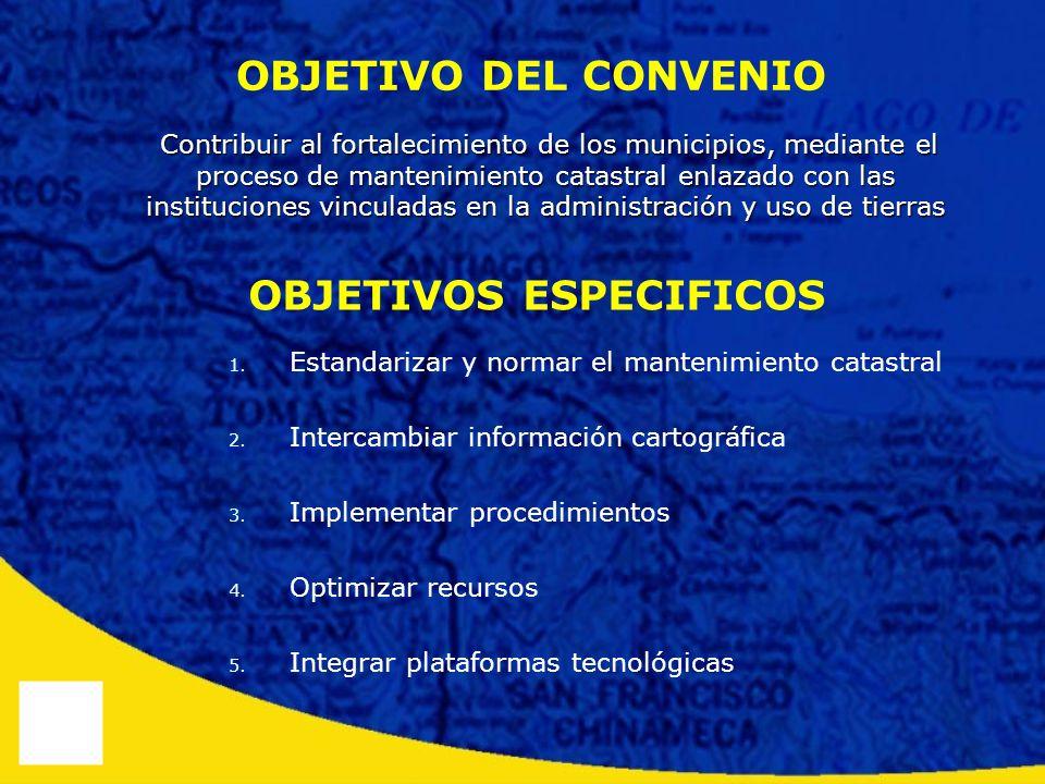 OBJETIVO DEL CONVENIO Contribuir al fortalecimiento de los municipios, mediante el proceso de mantenimiento catastral enlazado con las instituciones v