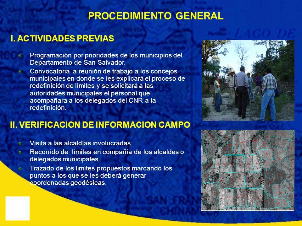 PROCEDIMIENTO GENERAL Programación por prioridades de los municipios del Departamento de San Salvador. Convocatoria a reunión de trabajo a los concejo