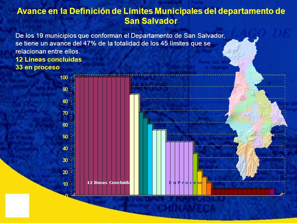 Avance en la Definición de Límites Municipales del departamento de San Salvador De los 19 municipios que conforman el Departamento de San Salvador, se