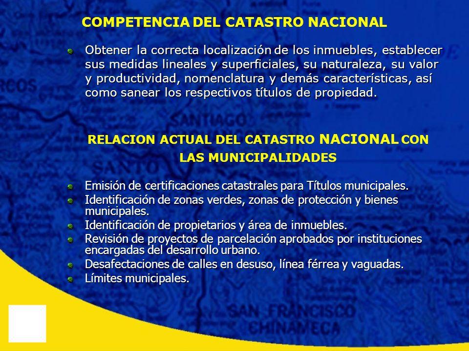 COMPETENCIA DEL CATASTRO NACIONAL Obtener la correcta localización de los inmuebles, establecer sus medidas lineales y superficiales, su naturaleza, s