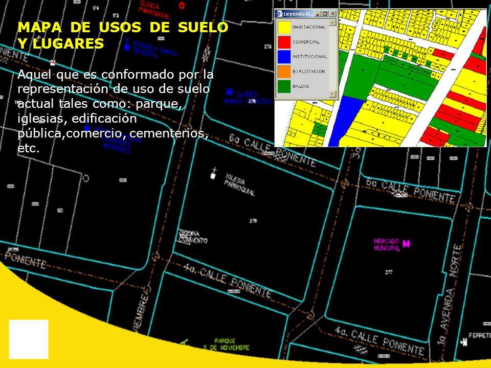 MAPA DE USOS DE SUELO Y LUGARES Aquel que es conformado por la representación de uso de suelo actual tales como: parque, iglesias, edificación pública
