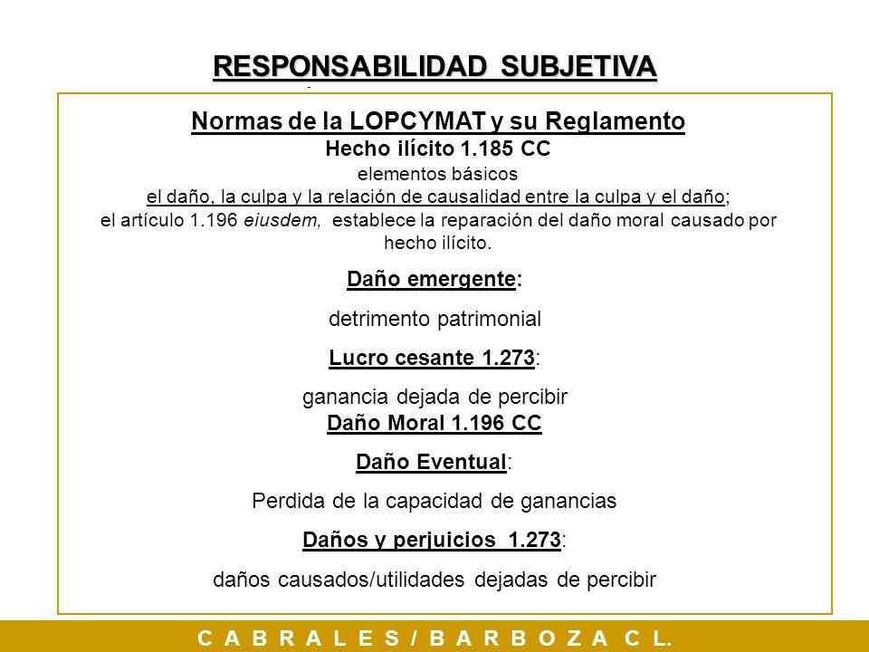 Responsabilidad SUBJETIVA, Normas de la LOPCYMAT y su Reglamento Hecho ilícito 1.185 CC elementos básicos el daño, la culpa y la relación de causalida
