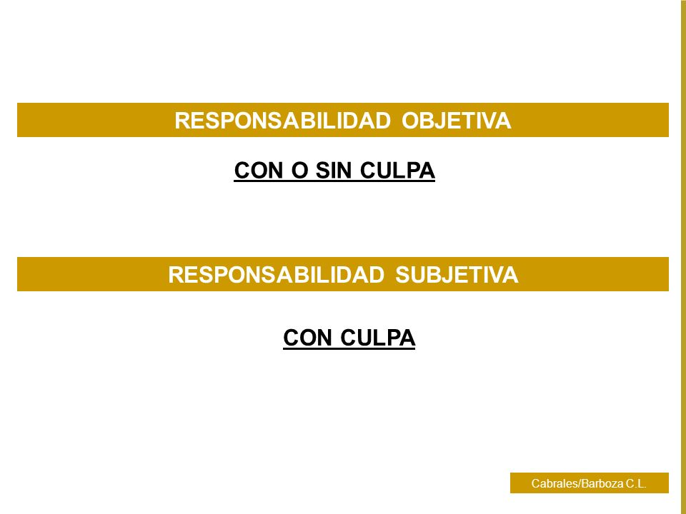 Cabrales/Barboza C.L. RESPONSABILIDAD OBJETIVA CON CULPA RESPONSABILIDAD SUBJETIVA CON O SIN CULPA