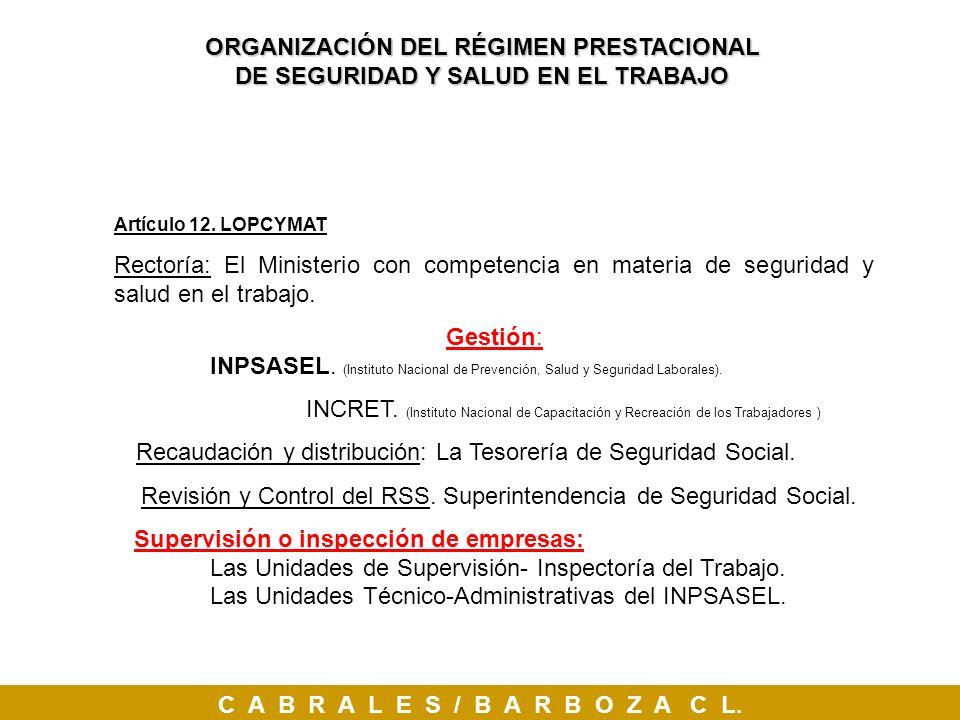 Artículo 12. LOPCYMAT Rectoría: El Ministerio con competencia en materia de seguridad y salud en el trabajo. Gestión: INPSASEL. (Instituto Nacional de