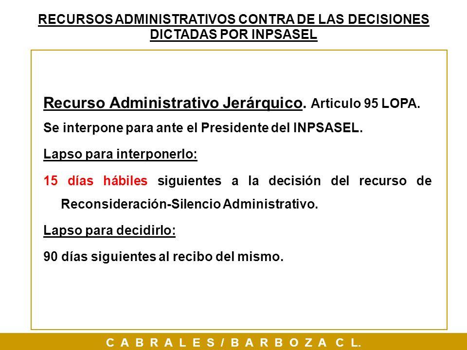 Recurso Administrativo Jerárquico. Articulo 95 LOPA. Se interpone para ante el Presidente del INPSASEL. Lapso para interponerlo: 15 días hábiles sigui