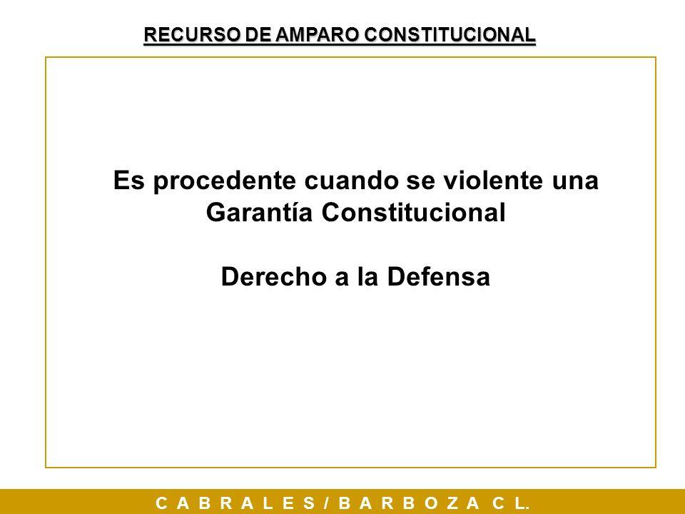 RECURSO DE AMPARO CONSTITUCIONAL C A B R A L E S / B A R B O Z A C L. Es procedente cuando se violente una Garantía Constitucional Derecho a la Defens