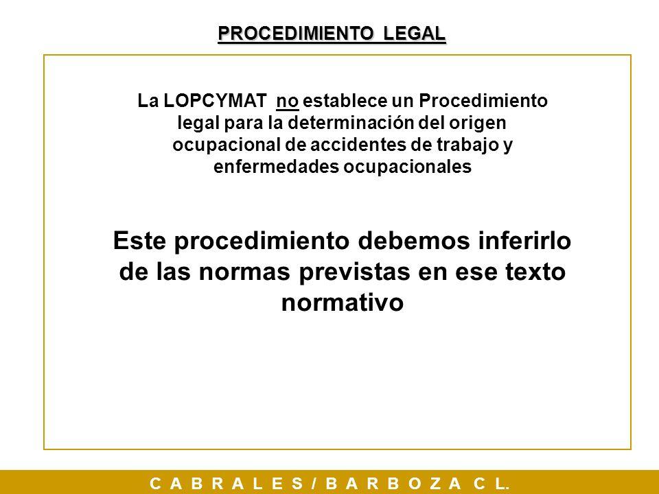 PROCEDIMIENTO LEGAL C A B R A L E S / B A R B O Z A C L. Este procedimiento debemos inferirlo de las normas previstas en ese texto normativo La LOPCYM