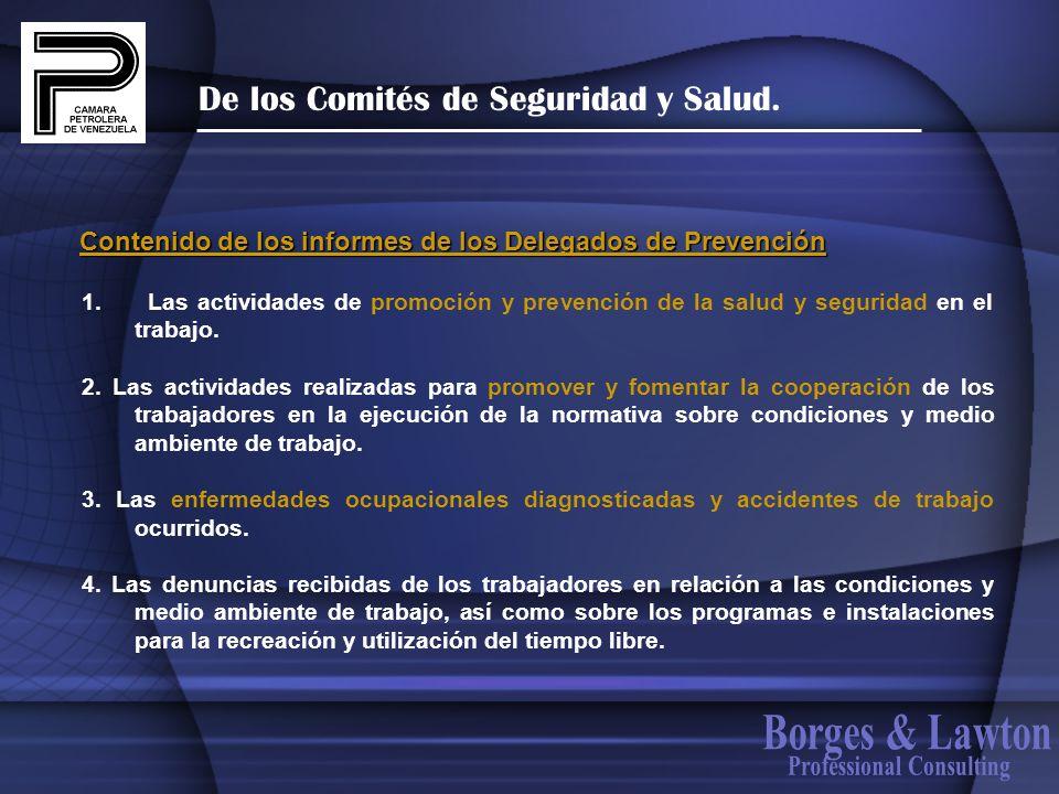 De los Comités de Seguridad y Salud. 1. Las actividades de promoción y prevención de la salud y seguridad en el trabajo. 2. Las actividades realizadas