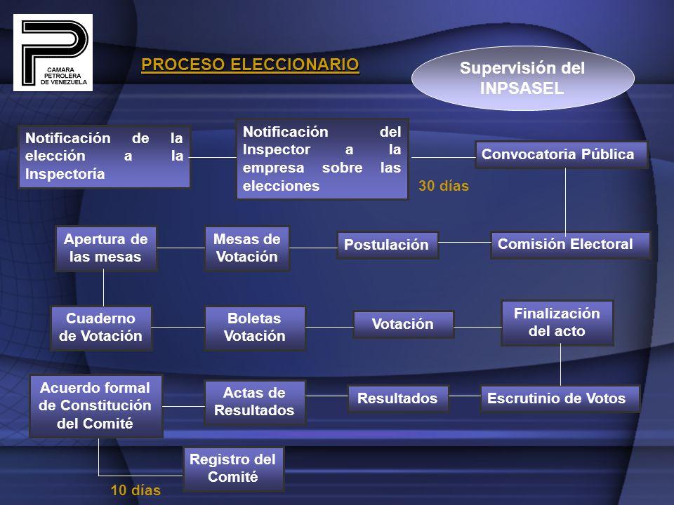 PROCESO ELECCIONARIO Notificación de la elección a la Inspectoría Notificación del Inspector a la empresa sobre las elecciones Convocatoria Pública 30
