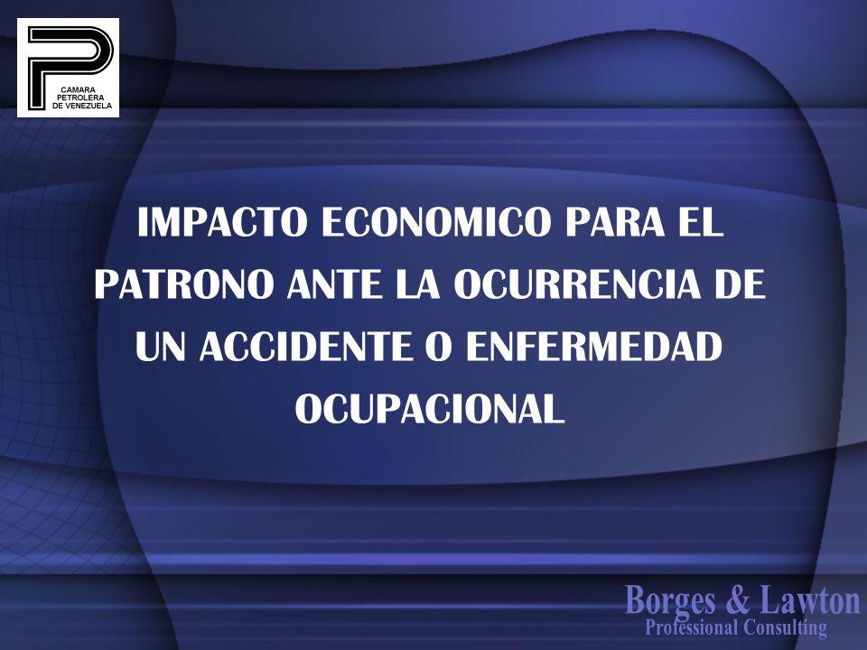 IMPACTO ECONOMICO PARA EL PATRONO ANTE LA OCURRENCIA DE UN ACCIDENTE O ENFERMEDAD OCUPACIONAL