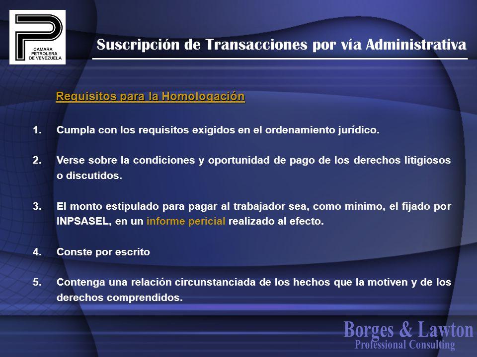 Suscripción de Transacciones por vía Administrativa 1. Cumpla con los requisitos exigidos en el ordenamiento jurídico. 2. Verse sobre la condiciones y