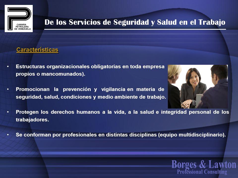 De los Servicios de Seguridad y Salud en el Trabajo Estructuras organizacionales obligatorias en toda empresa propios o mancomunados). Promocionan la