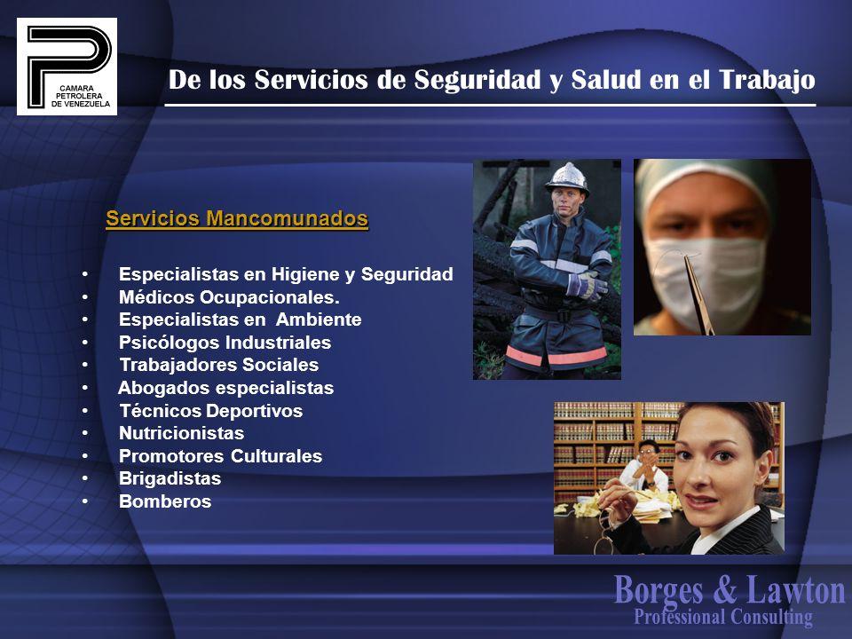 De los Servicios de Seguridad y Salud en el Trabajo Especialistas en Higiene y Seguridad Médicos Ocupacionales. Especialistas en Ambiente Psicólogos I