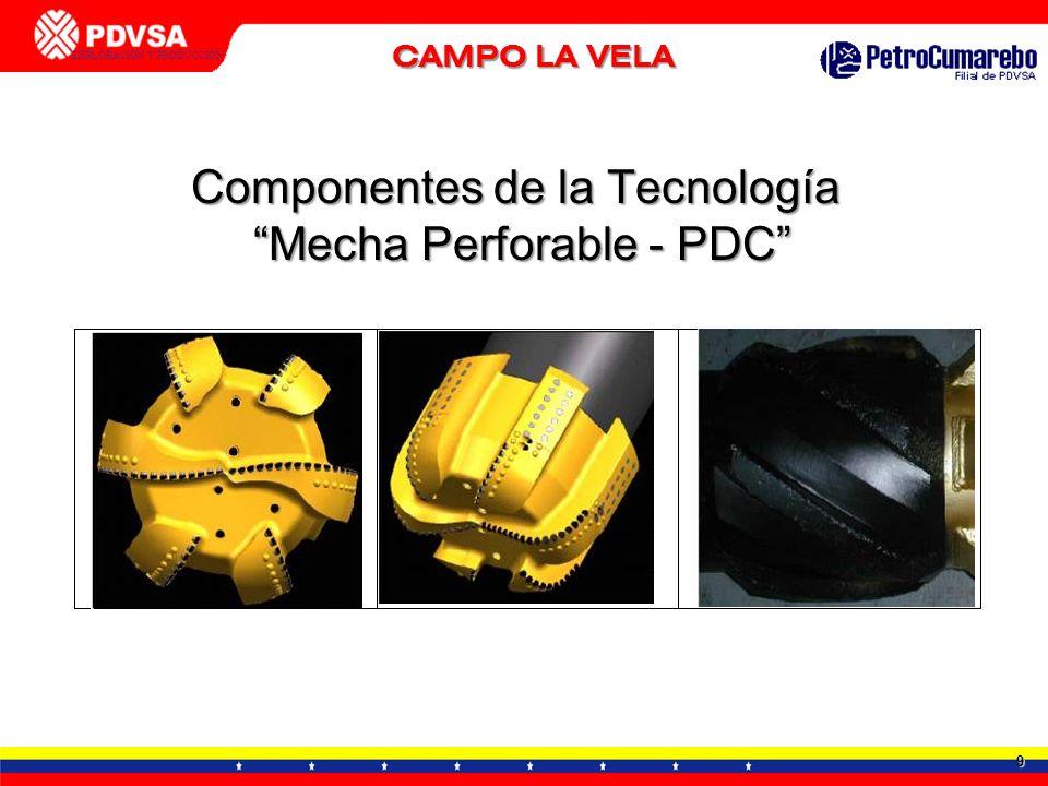 9 GERENCIA DE TECNOLOGÍA APLICADA - DTTO. TIA JUANA EXPLORACIÓN Y PRODUCCIÓN CALENTADORES DE FONDO Componentes de la Tecnología Mecha Perforable - PDC
