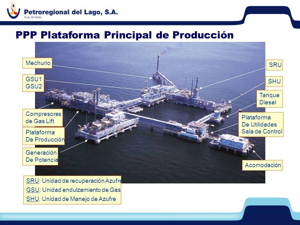 Plataforma De Utilidades Sala de Control Acomodación Generación De Potencia Compresores de Gas Lift Plataforma De Producción GSU1 GSU2 Mechurio SRU SH