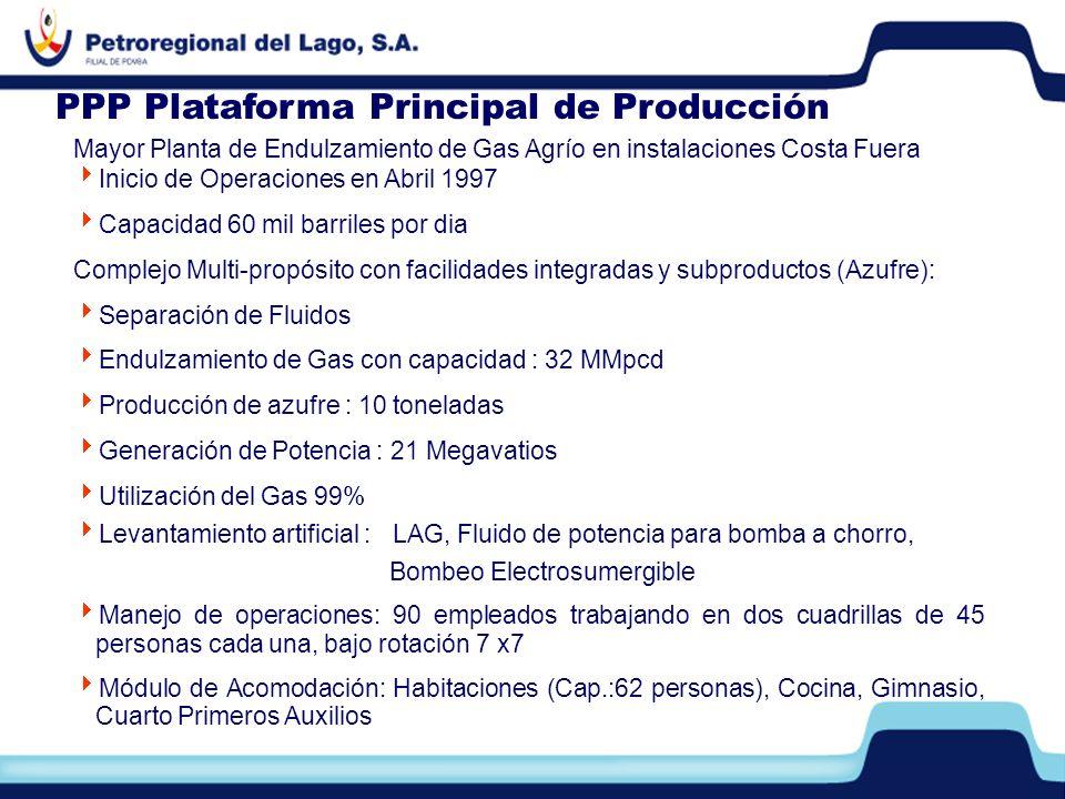 PPP Plataforma Principal de Producción Mayor Planta de Endulzamiento de Gas Agrío en instalaciones Costa Fuera Inicio de Operaciones en Abril 1997 Cap