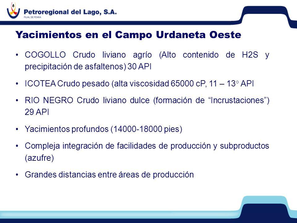 COGOLLO Crudo liviano agrío (Alto contenido de H2S y precipitación de asfaltenos) 30 API ICOTEA Crudo pesado (alta viscosidad 65000 cP, 11 – 13° API R