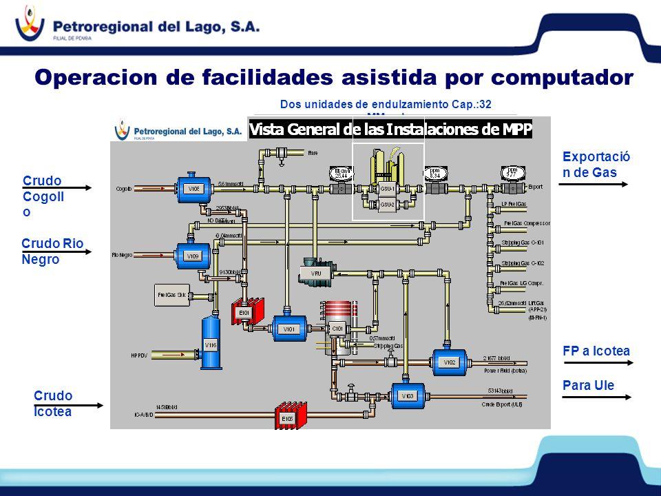 Operacion de facilidades asistida por computador Dos unidades de endulzamiento Cap.:32 MMpcd Crudo Cogoll o Crudo Rio Negro Para Ule Crudo Icotea FP a