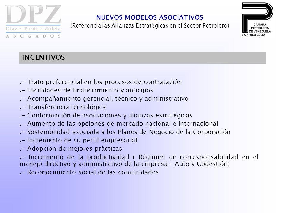 .- Trato preferencial en los procesos de contratación.- Facilidades de financiamiento y anticipos.- Acompañamiento gerencial, técnico y administrativo