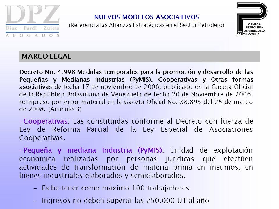 Decreto No. 4.998 Medidas temporales para la promoción y desarrollo de las Pequeñas y Medianas Industrias (PyMIS), Cooperativas y Otras formas asociat