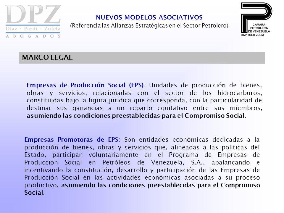 NUEVOS MODELOS ASOCIATIVOS (Referencia las Alianzas Estratégicas en el Sector Petrolero) MARCO LEGAL Empresas de Producción Social (EPS): Unidades de