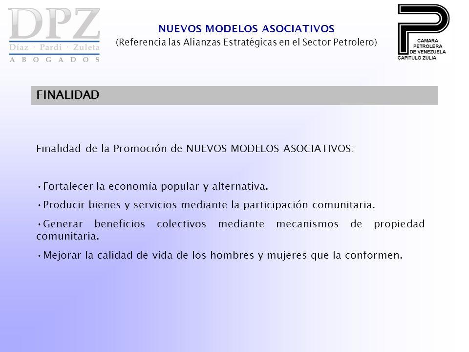 NUEVOS MODELOS ASOCIATIVOS (Referencia las Alianzas Estratégicas en el Sector Petrolero) FINALIDAD Finalidad de la Promoción de NUEVOS MODELOS ASOCIAT