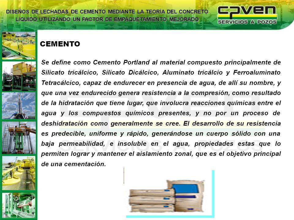 Se define como Cemento Portland al material compuesto principalmente de Silicato tricálcico, Silicato Dicálcico, Aluminato tricálcio y Ferroaluminato