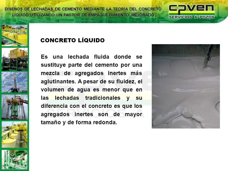 CONCRETO LÍQUIDO Es una lechada fluida donde se sustituye parte del cemento por una mezcla de agregados inertes más aglutinantes. A pesar de su fluide