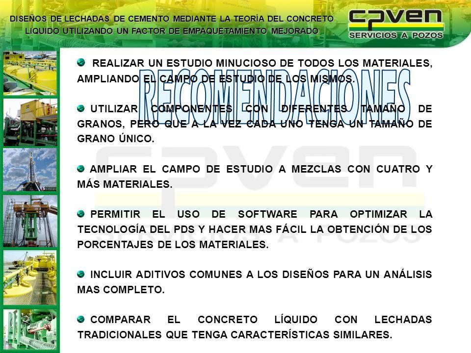 REALIZAR UN ESTUDIO MINUCIOSO DE TODOS LOS MATERIALES, AMPLIANDO EL CAMPO DE ESTUDIO DE LOS MISMOS. UTILIZAR COMPONENTES CON DIFERENTES TAMAÑO DE GRAN