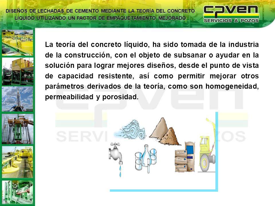 Diseñar lechadas de cemento apoyándose en la teoría del concreto líquido, para obtener mejores características físicas mediante el mejoramiento del factor de empaquetamiento volumétrico.