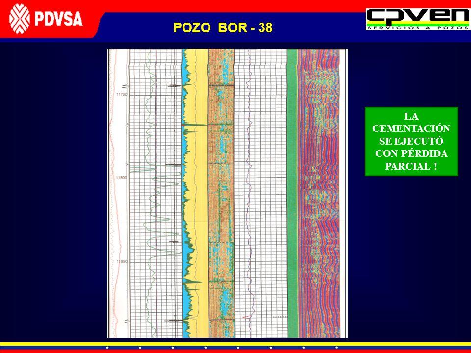 POZO BOR - 38 LA CEMENTACIÓN SE EJECUTÓ CON PÉRDIDA PARCIAL !