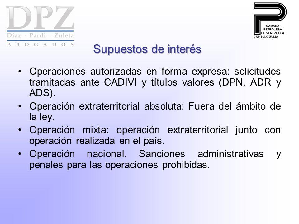 Supuestos de interés Operaciones autorizadas en forma expresa: solicitudes tramitadas ante CADIVI y títulos valores (DPN, ADR y ADS). Operación extrat