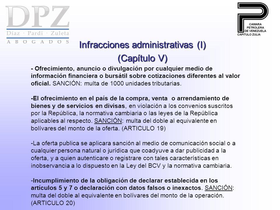 Infracciones administrativas (I) (Capítulo V) - Ofrecimiento, anuncio o divulgación por cualquier medio de información financiera o bursátil sobre cotizaciones diferentes al valor oficial.