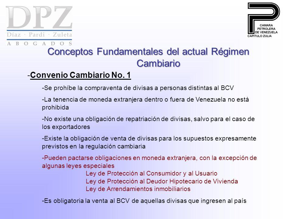 Conceptos Fundamentales del actual Régimen Cambiario -Convenio Cambiario No. 1 -Se prohíbe la compraventa de divisas a personas distintas al BCV -La t