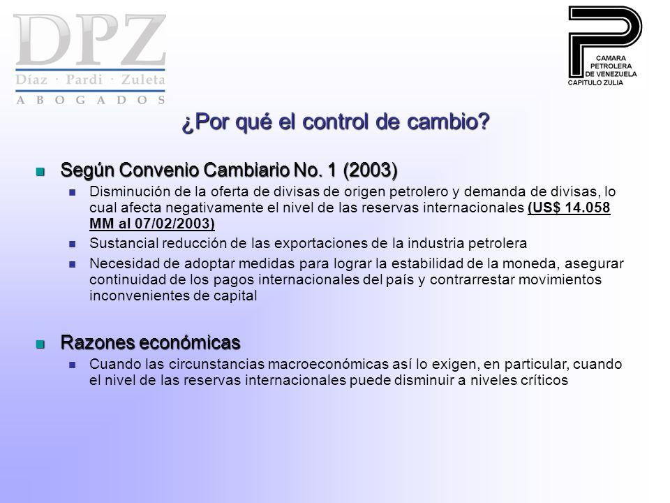 ¿Por qué el control de cambio? Según Convenio Cambiario No. 1 (2003) Según Convenio Cambiario No. 1 (2003) Disminución de la oferta de divisas de orig