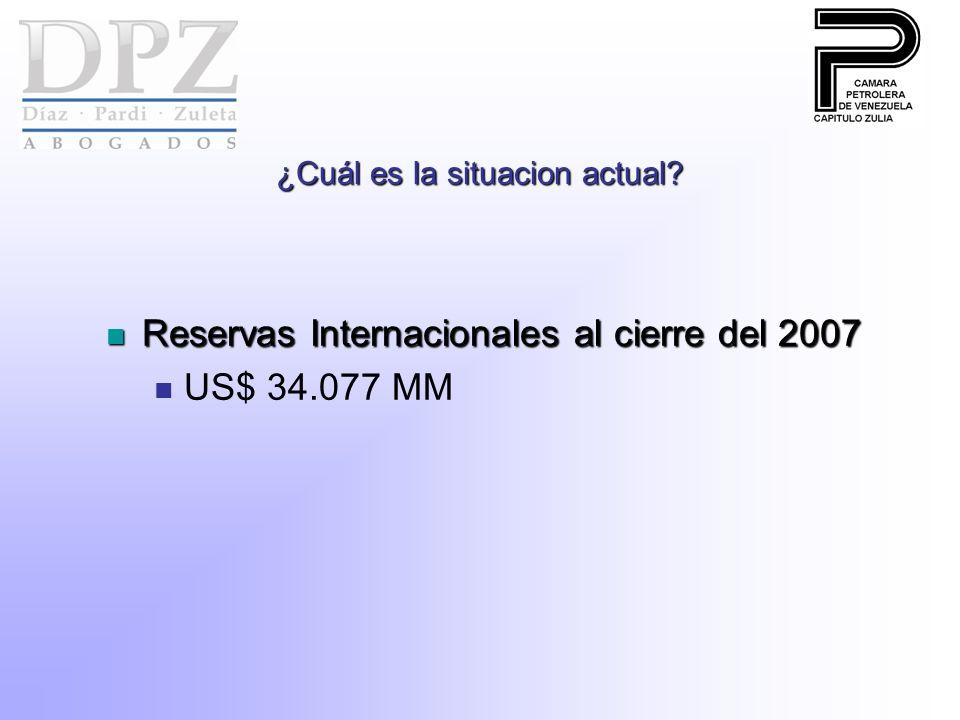 ¿Cuál es la situacion actual? Reservas Internacionales al cierre del 2007 Reservas Internacionales al cierre del 2007 US$ 34.077 MM