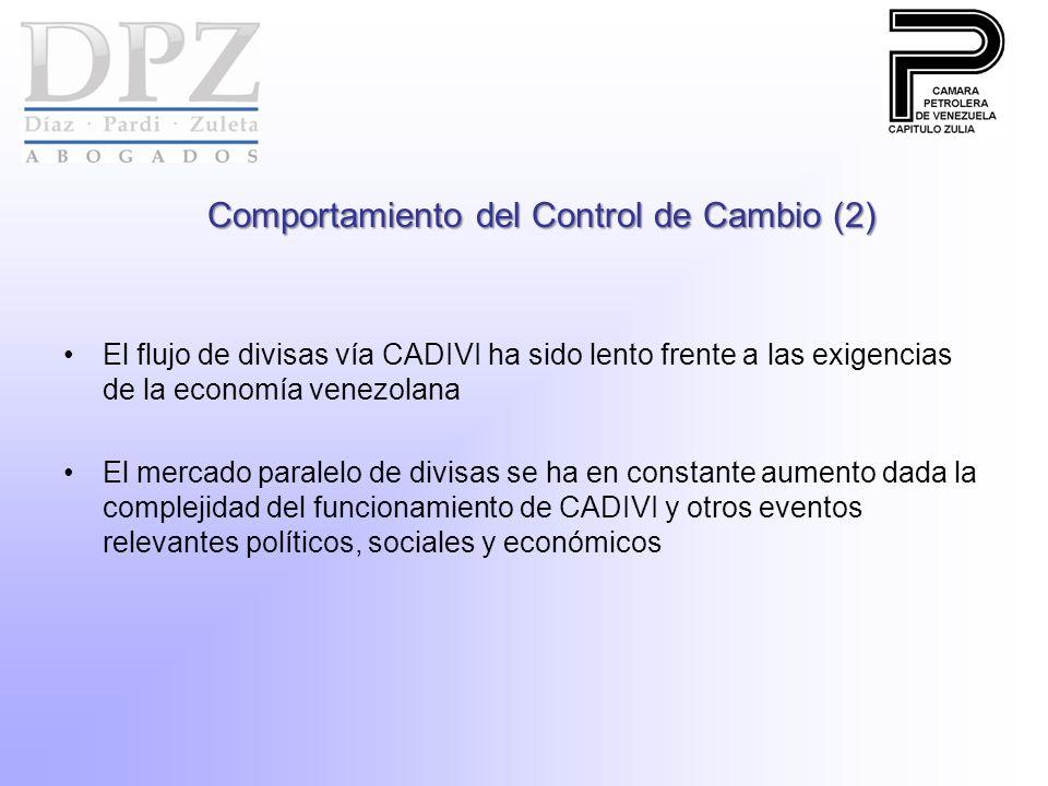 Comportamiento del Control de Cambio (2) El flujo de divisas vía CADIVI ha sido lento frente a las exigencias de la economía venezolana El mercado paralelo de divisas se ha en constante aumento dada la complejidad del funcionamiento de CADIVI y otros eventos relevantes políticos, sociales y económicos
