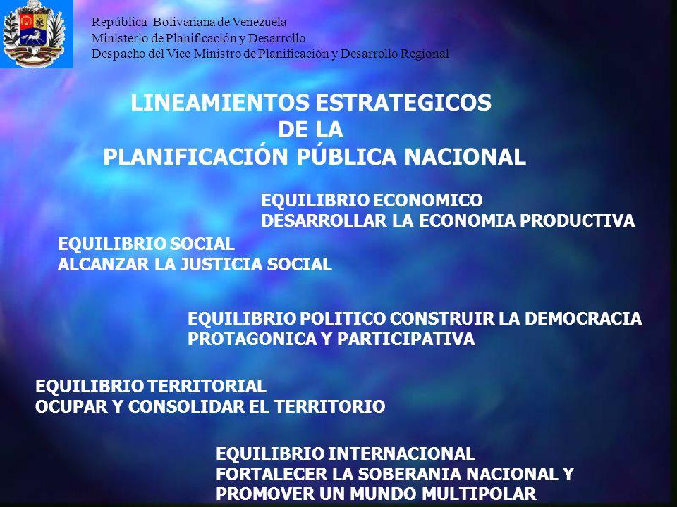 República Bolivariana de Venezuela Ministerio de Planificación y Desarrollo Despacho del Vice Ministro de Planificación y Desarrollo Regional LINEAMIE